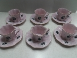 Cups, mugs with saucers -Czech pink porcelain